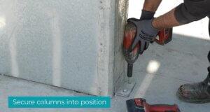 2. Secure columns into position