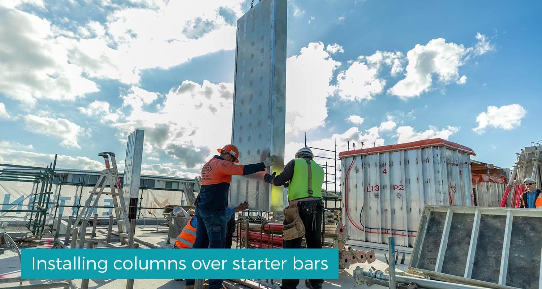 Installing_columns_over_starter_bars